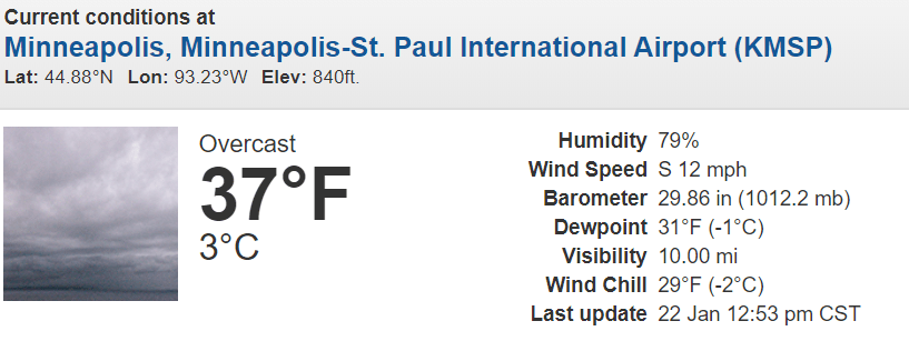 Early afternoon weather conditions at Twin Cities International Airport