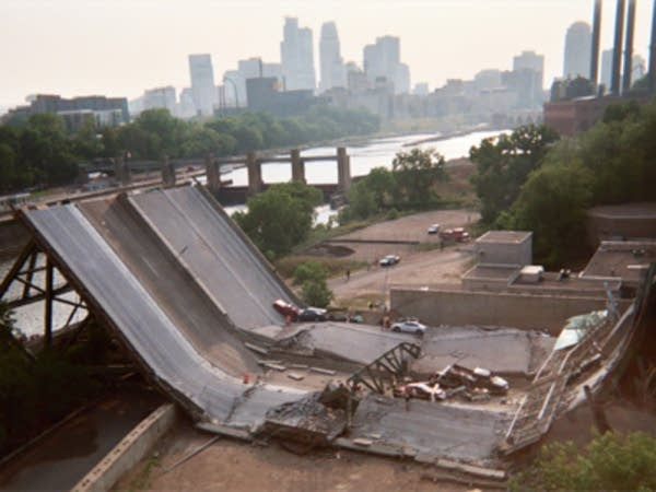 A section of the collapsed bridge