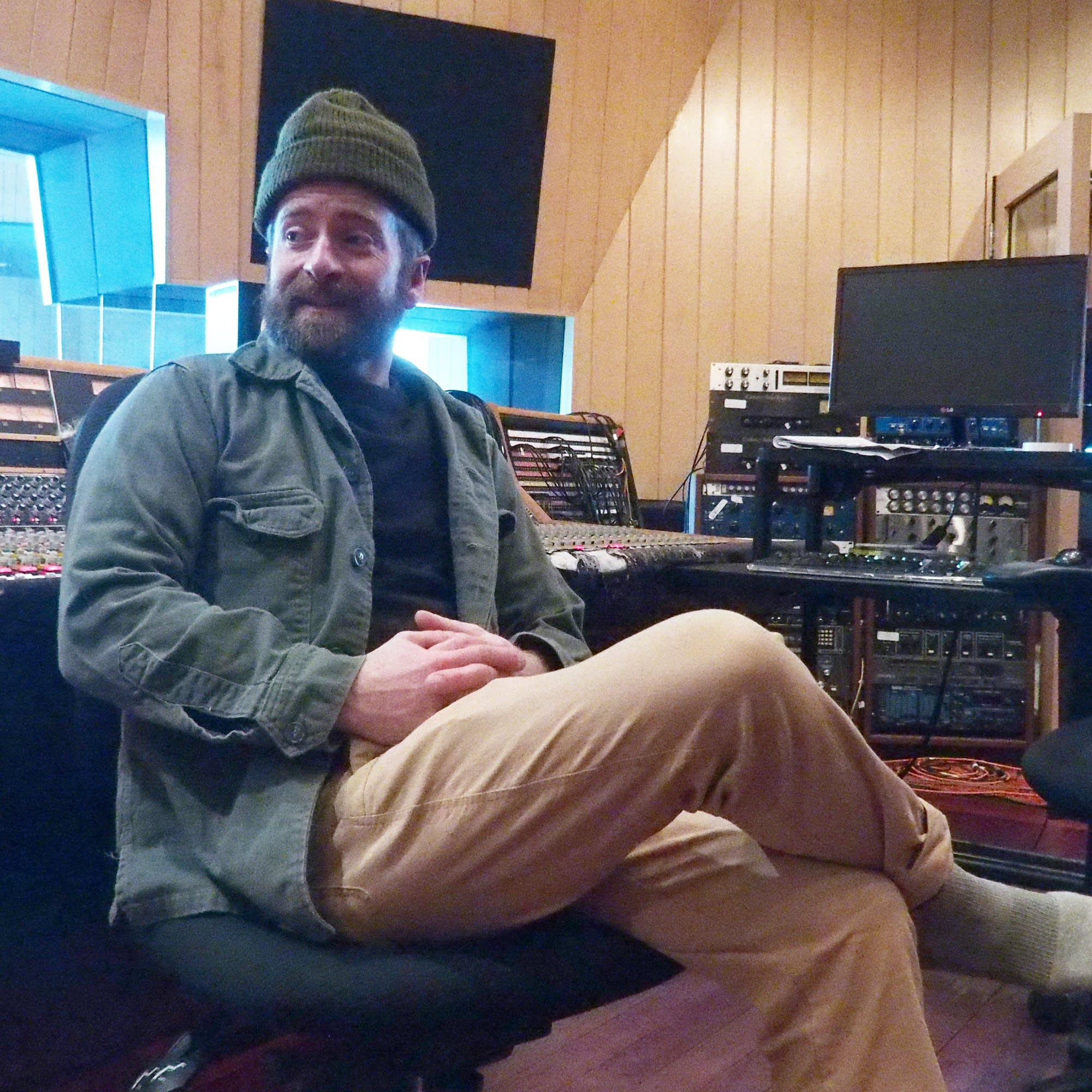Musician Dave Simonett in the control room.