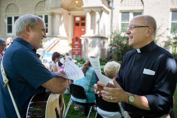 Musician Marty Haugen and Father Joe Weiss