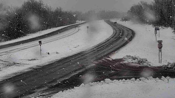 A snowy scene along U.S. Highway 53 near Twig, Minn.