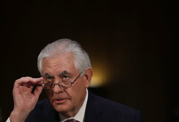 Rex Tillerson testifies during his confirmation hearing.