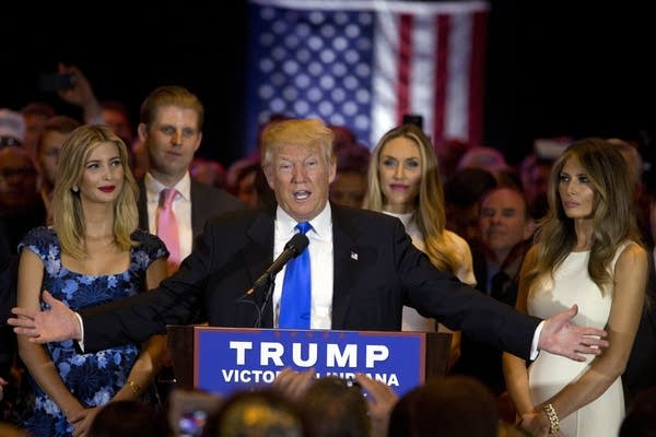 Donald Trump speaks after Indiana primary win