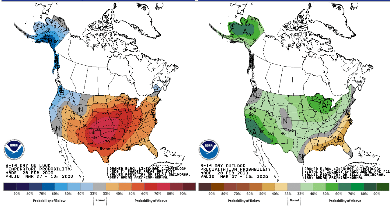 NOAA 8 to 14-day temperature and precipitation outlook