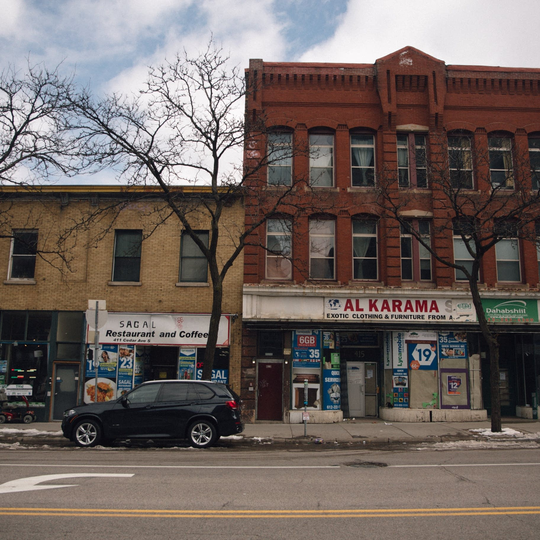 Businesses on Cedar Avenue in Minneapolis.