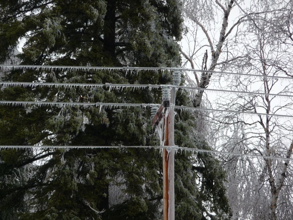 Ice-coated power lines