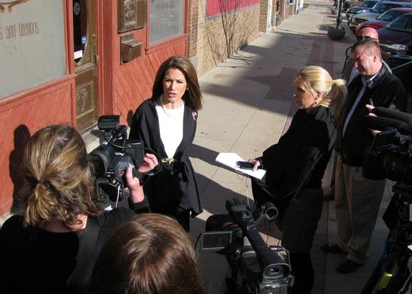Bachmann speaks with reporters
