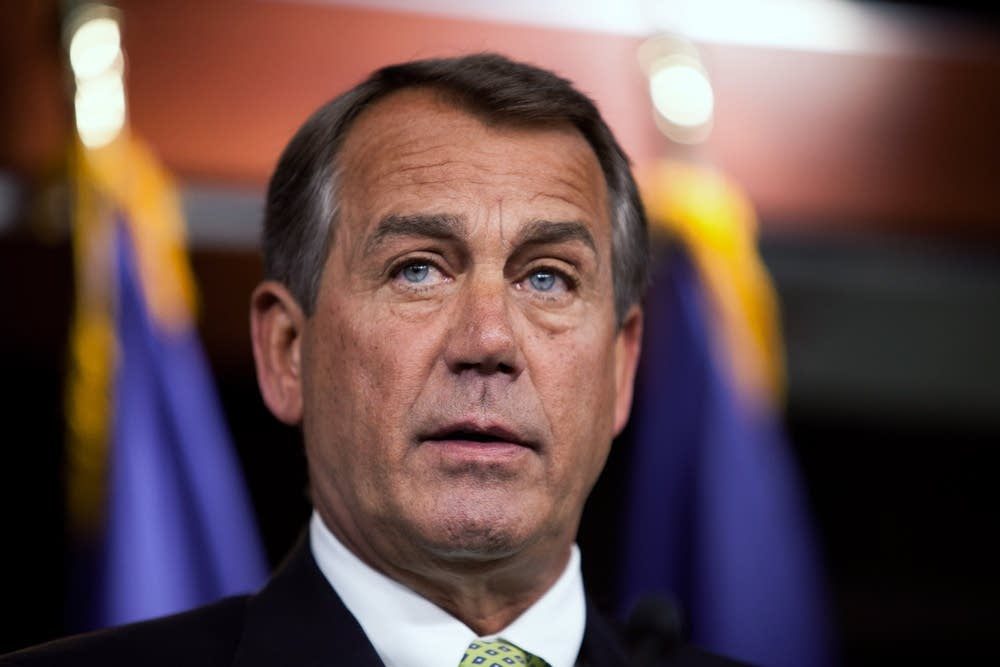 Boehner Holds Weekly Press Briefing At Capitol
