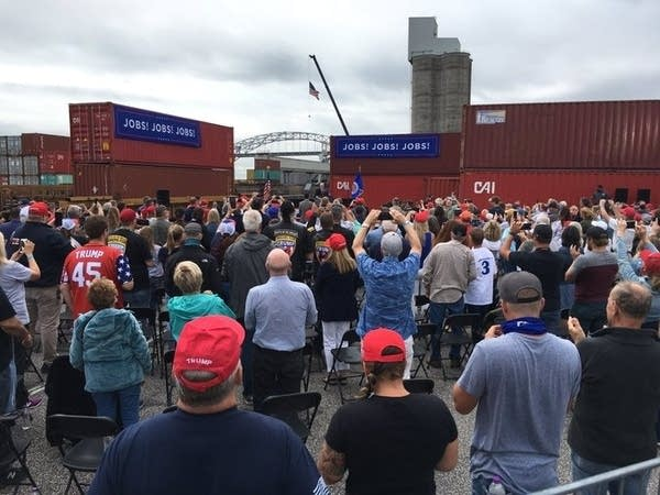 Trump-Pence supporters gather in Duluth during VP Pence's visit.