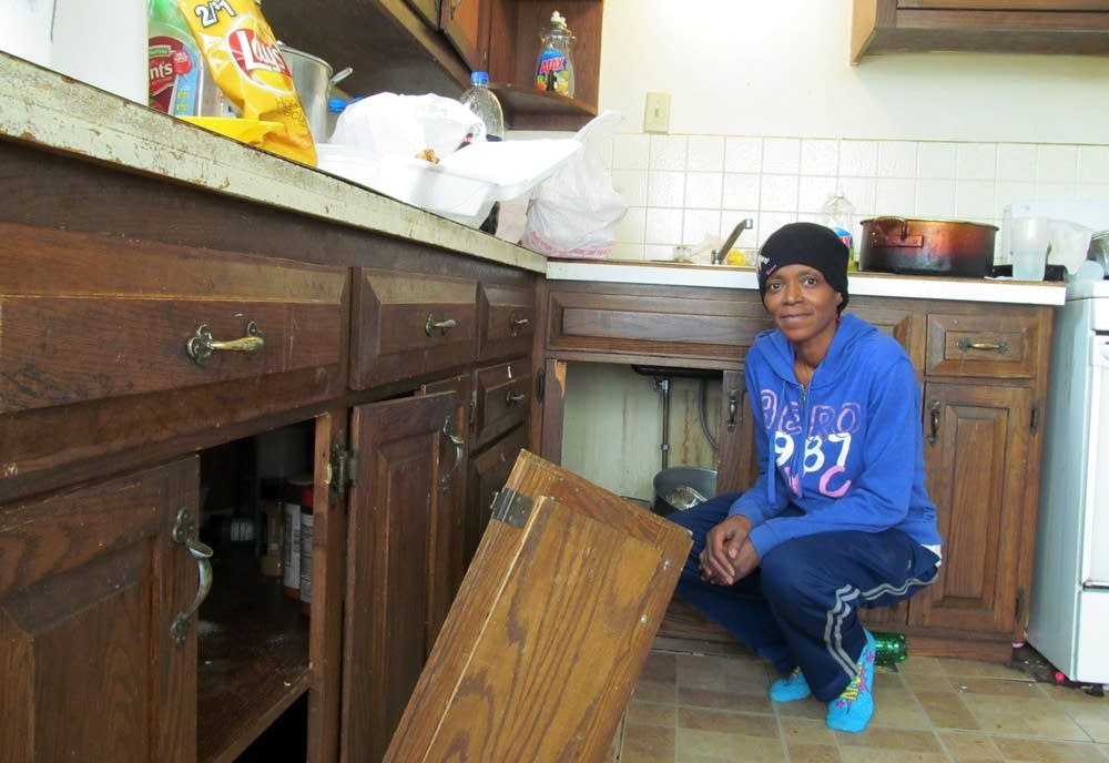 Barbara Mays is waiting for cabinets to be fixed.