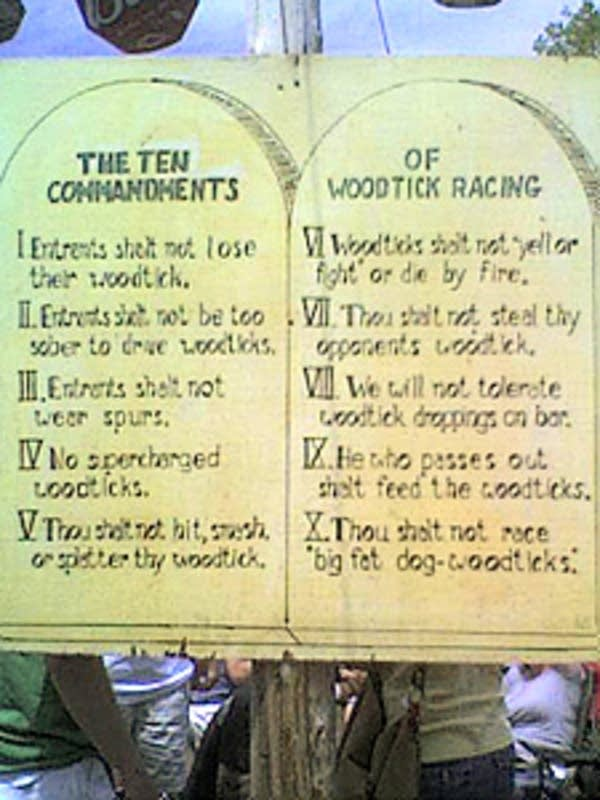 Ten Commandments of Woodtick Racing
