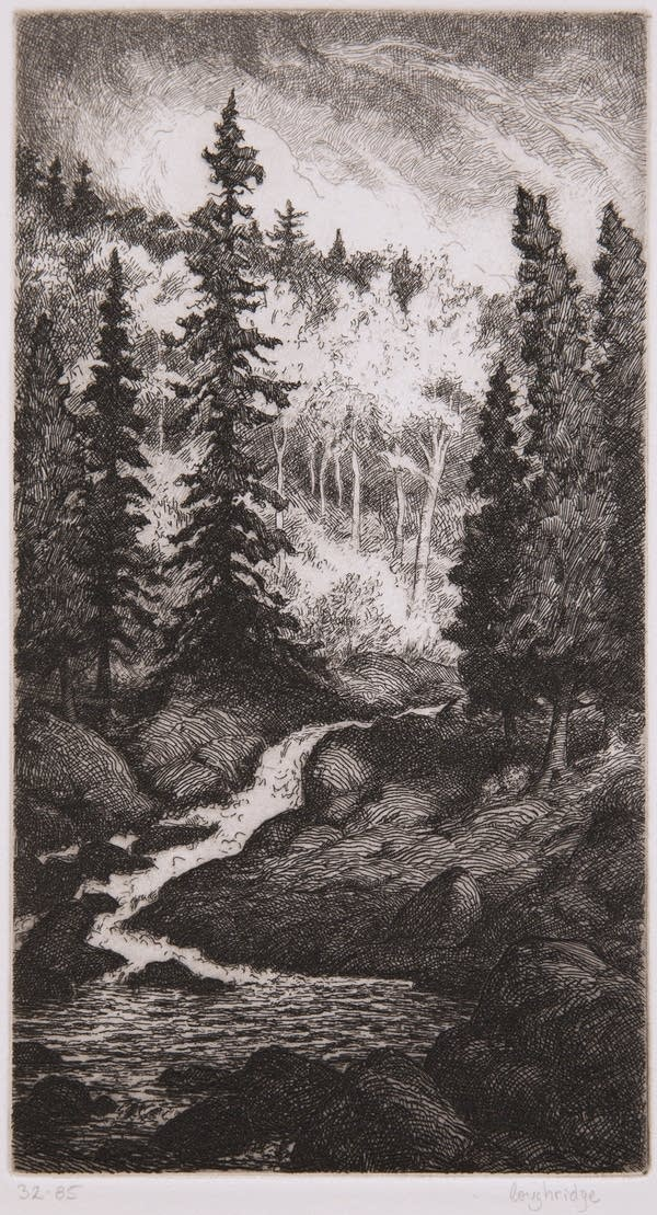 A painting of a river and trees.