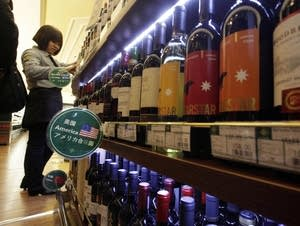 Wine imported from the U.S. is displayed at a supermarket in Beijing.