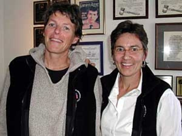 Polar explorers Liv Arnesen, left, and Ann Bancroft.