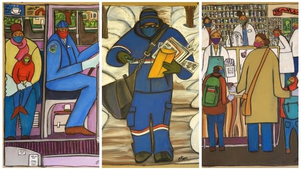 brightly colored portraits of a bus driver, a mailman, and a pharmacist