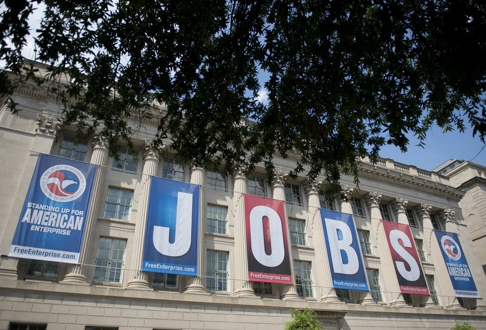 'Jobs' sign at the U.S. Chamber of Commerce