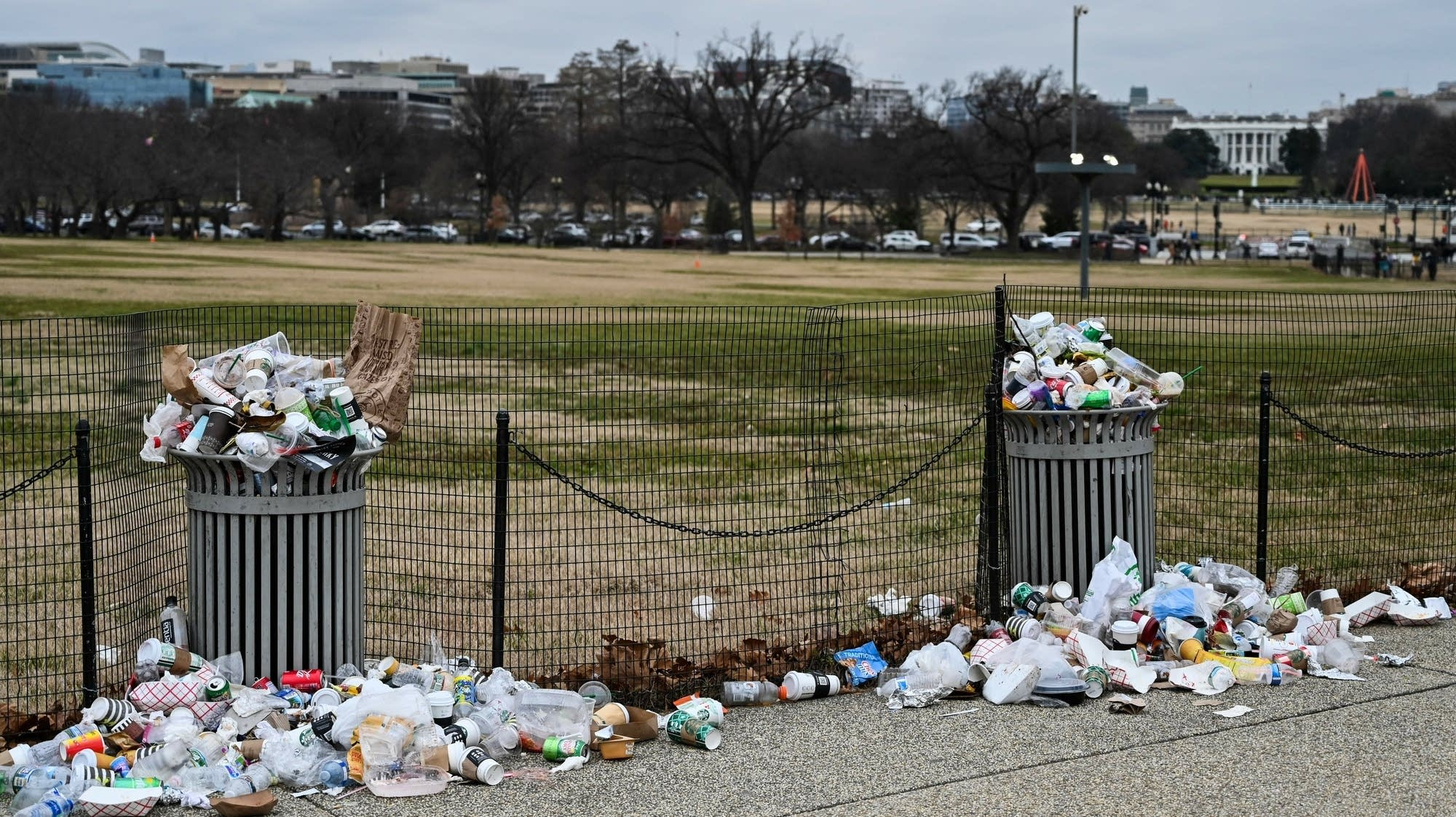 Trash lays uncollected on the National Mall