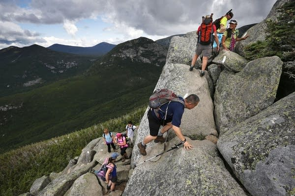 Day-hikers scramble on the Appalachian Trail.