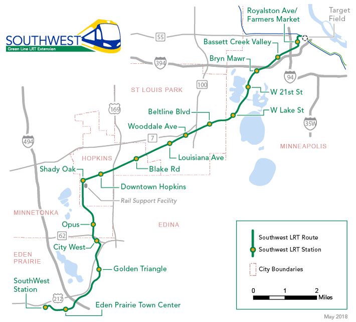 Planned route for the Southwest light rail line