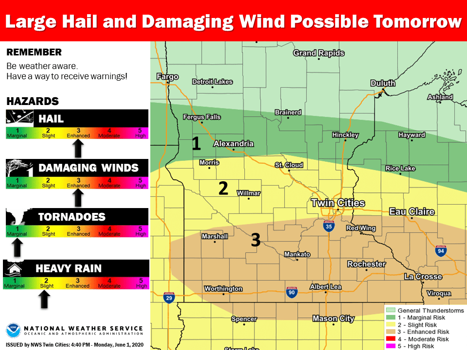 Severe weather risk areas Tuesday