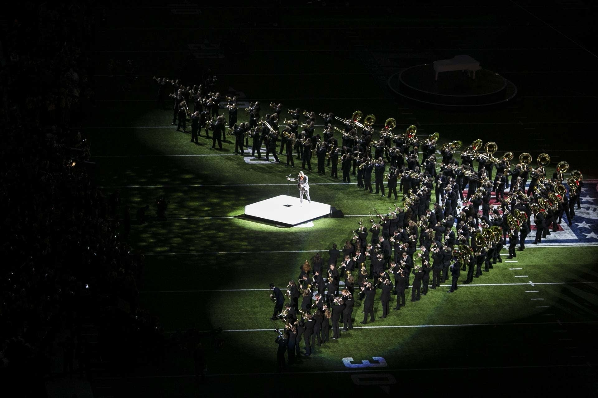 The University of Minnesota Marching Band performs with Justin Timberlake.
