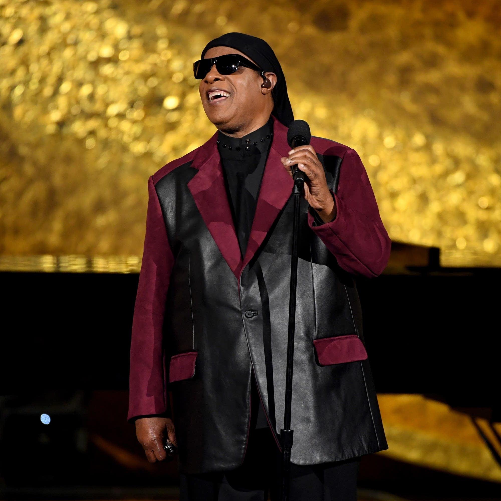 Stevie Wonder performs at a Quincy Jones tribute in Los Angeles, 2018.