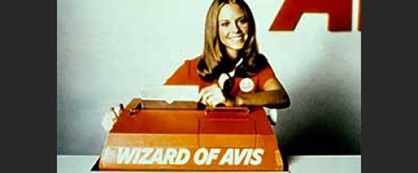"1970s photo of female Avis employee that says ""Wizard of Avis"""
