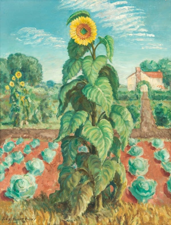 A painting of a large sunflower in a field.