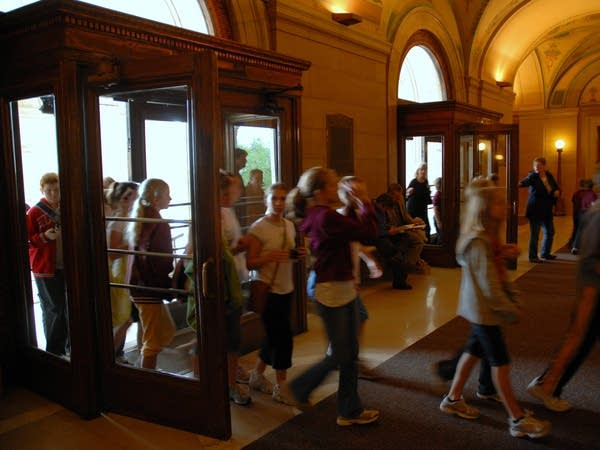 Students entering the Capitol