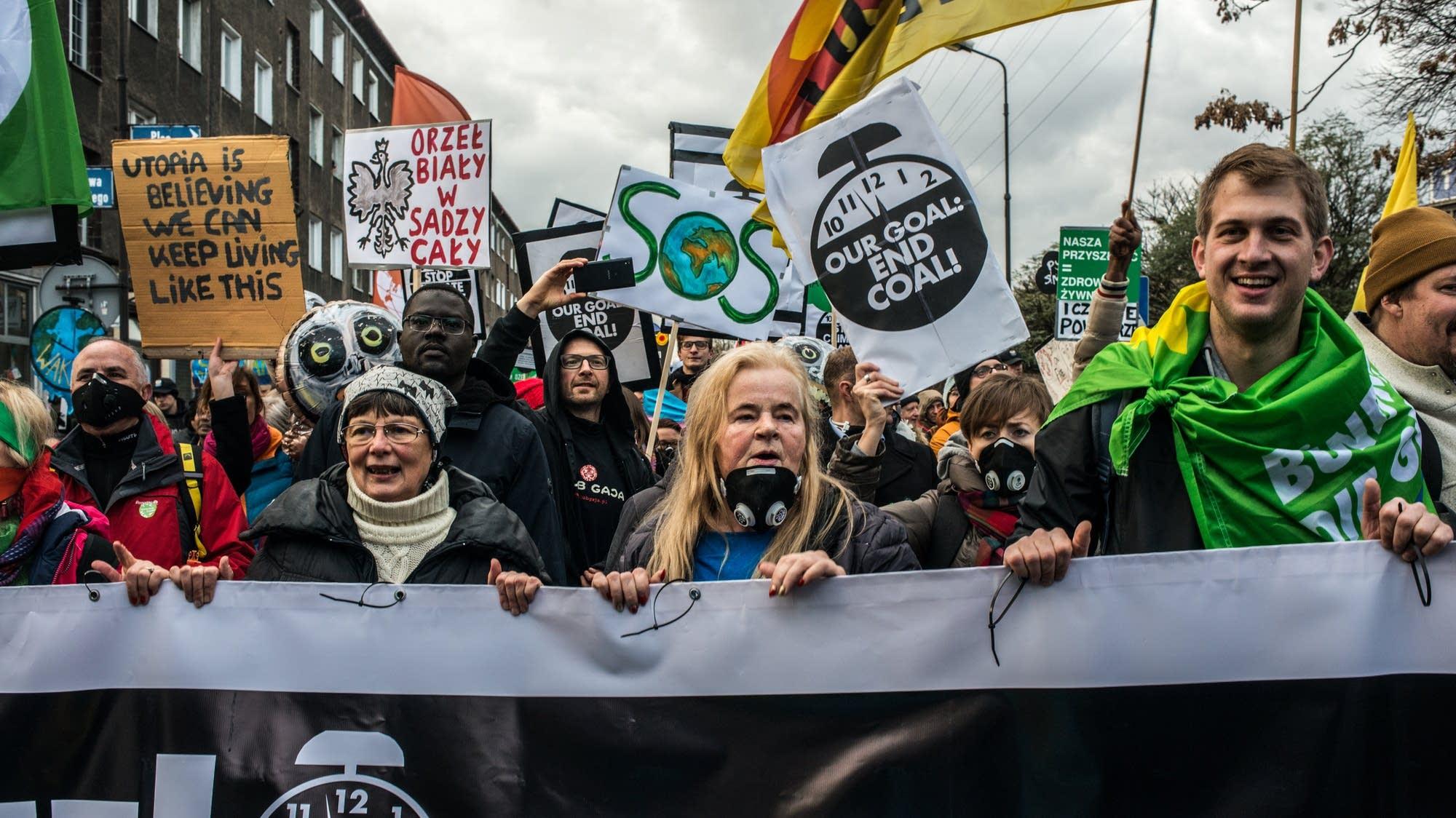 b0c5b63e7f77 Climate protest at UN talks in Poland Environmental protesters ...