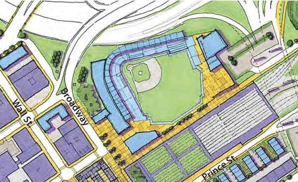 ballpark watercolor aerial