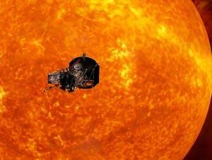 Image depicting NASA's Solar Probe Plus spacecraft approaching the sun