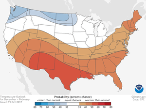 Warmer-than-average winter weather predicted.