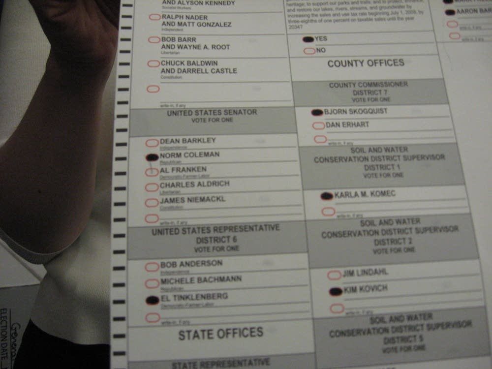 A challenged ballot in Anoka County