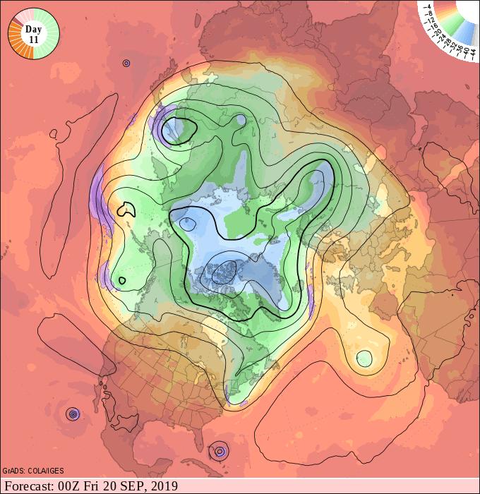 NOAA upper air forecast map for 7 pm Thursday September 19