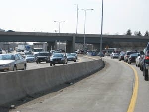 A typical Twin Cities rush hour traffic jam, along I-94.