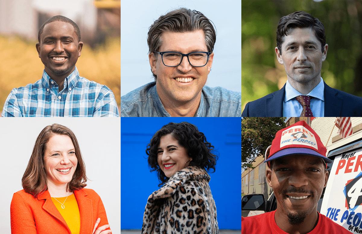 headshots of six Minneapolis mayoral candidates