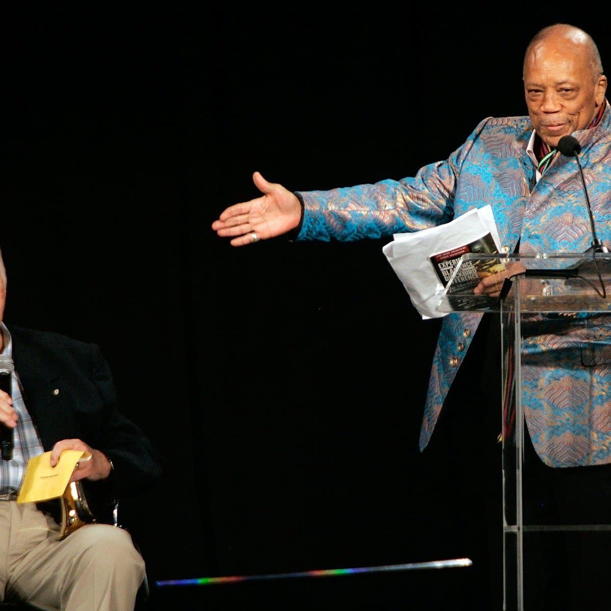 Bruce Swedien and Quincy Jones onstage together