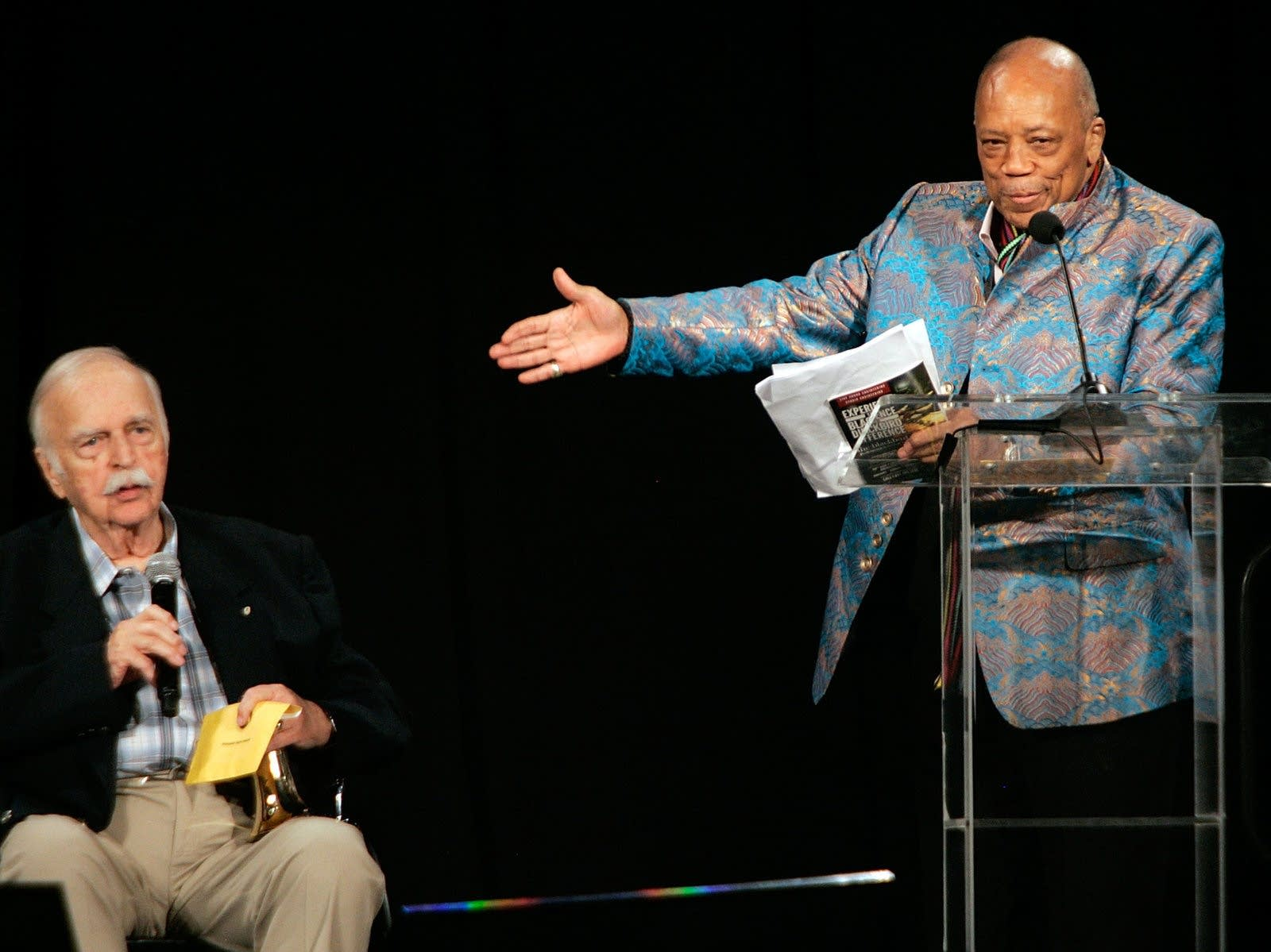 Bruce Swedien and Quincy Jones onstage together