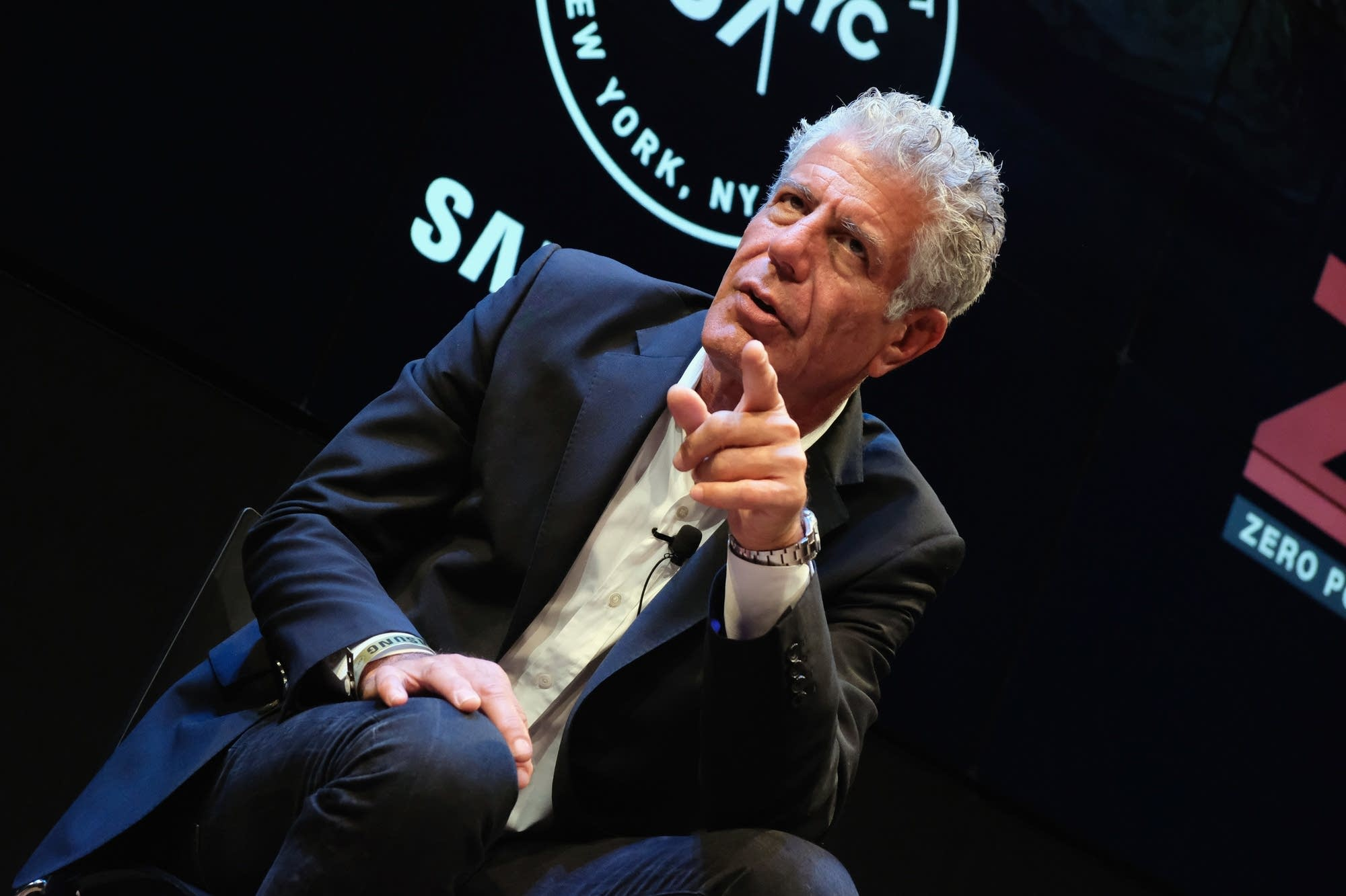 Anthony Bourdain speaks during a screening.