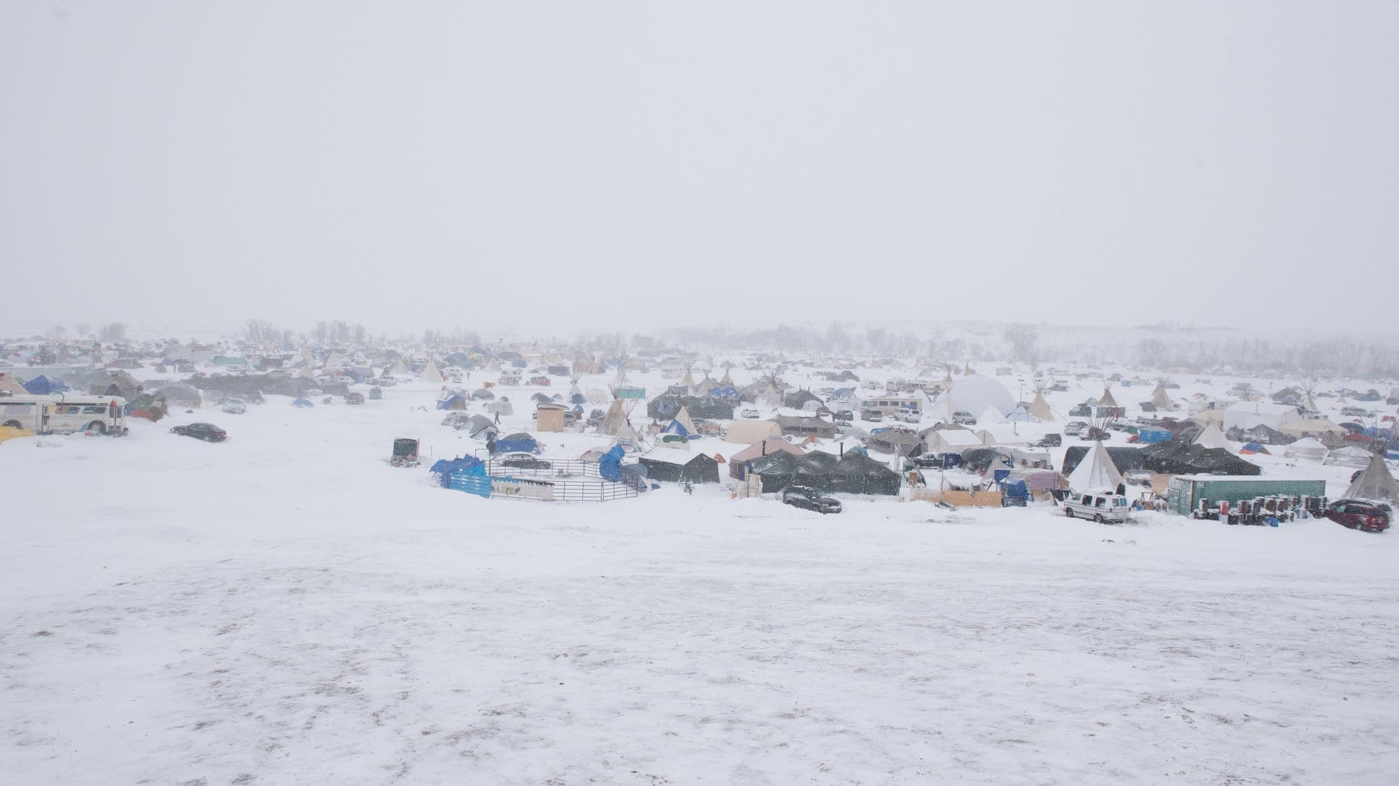 Blizzard conditions hit the Oceti Sakowin Camp.