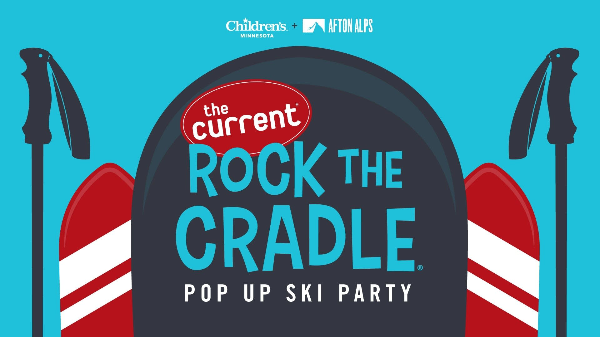 Rock the Cradle Pop Up Ski Party 2020 with extra logos