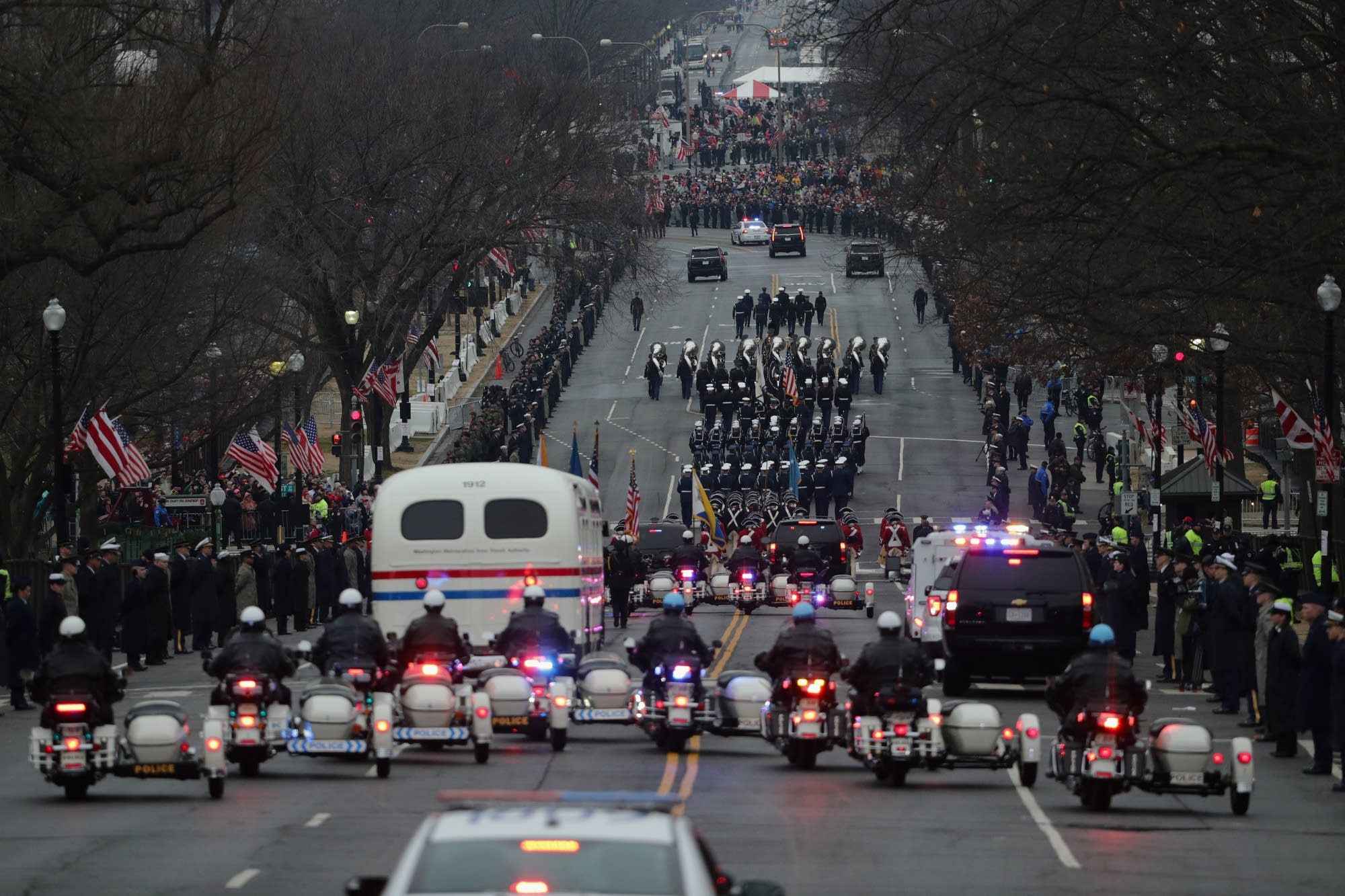 The Inaugural Parade proceeds on Pennsylvania Avenue.