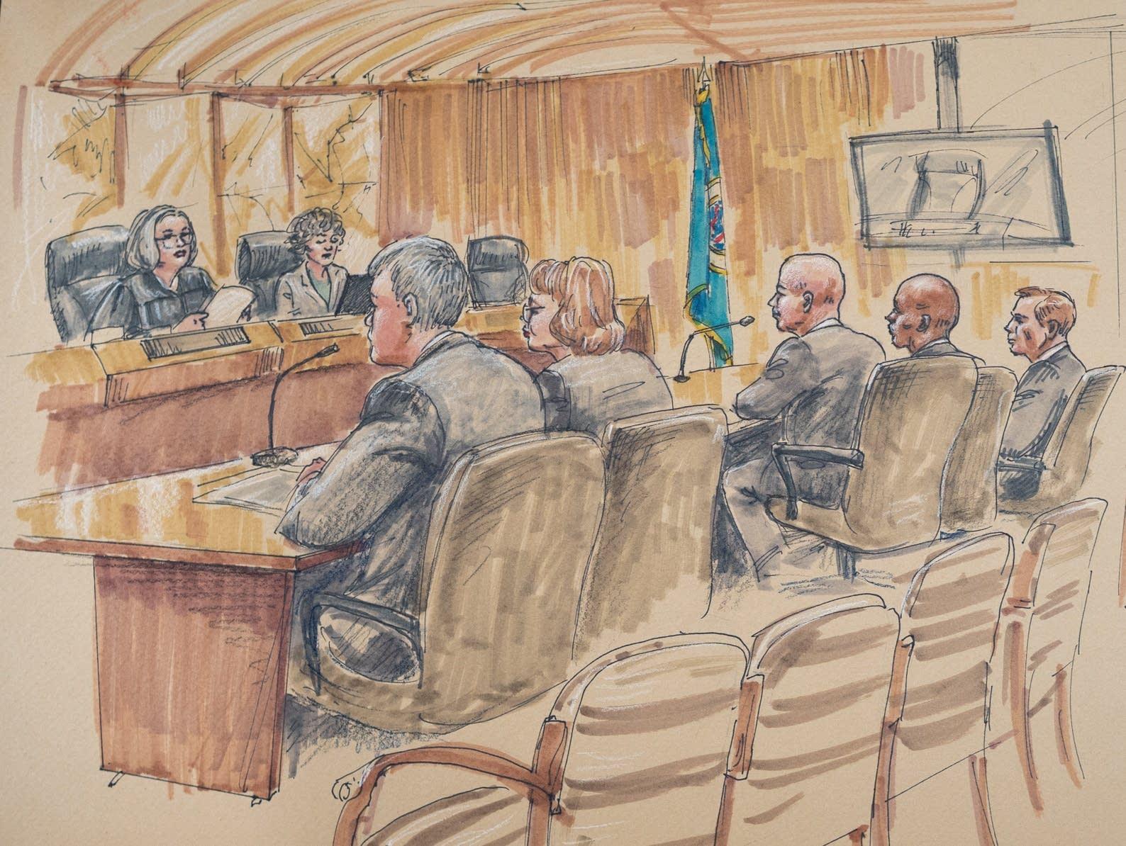 Inside the courtroom at Mohamed Noor's trial on Monday, April 1, 2019.
