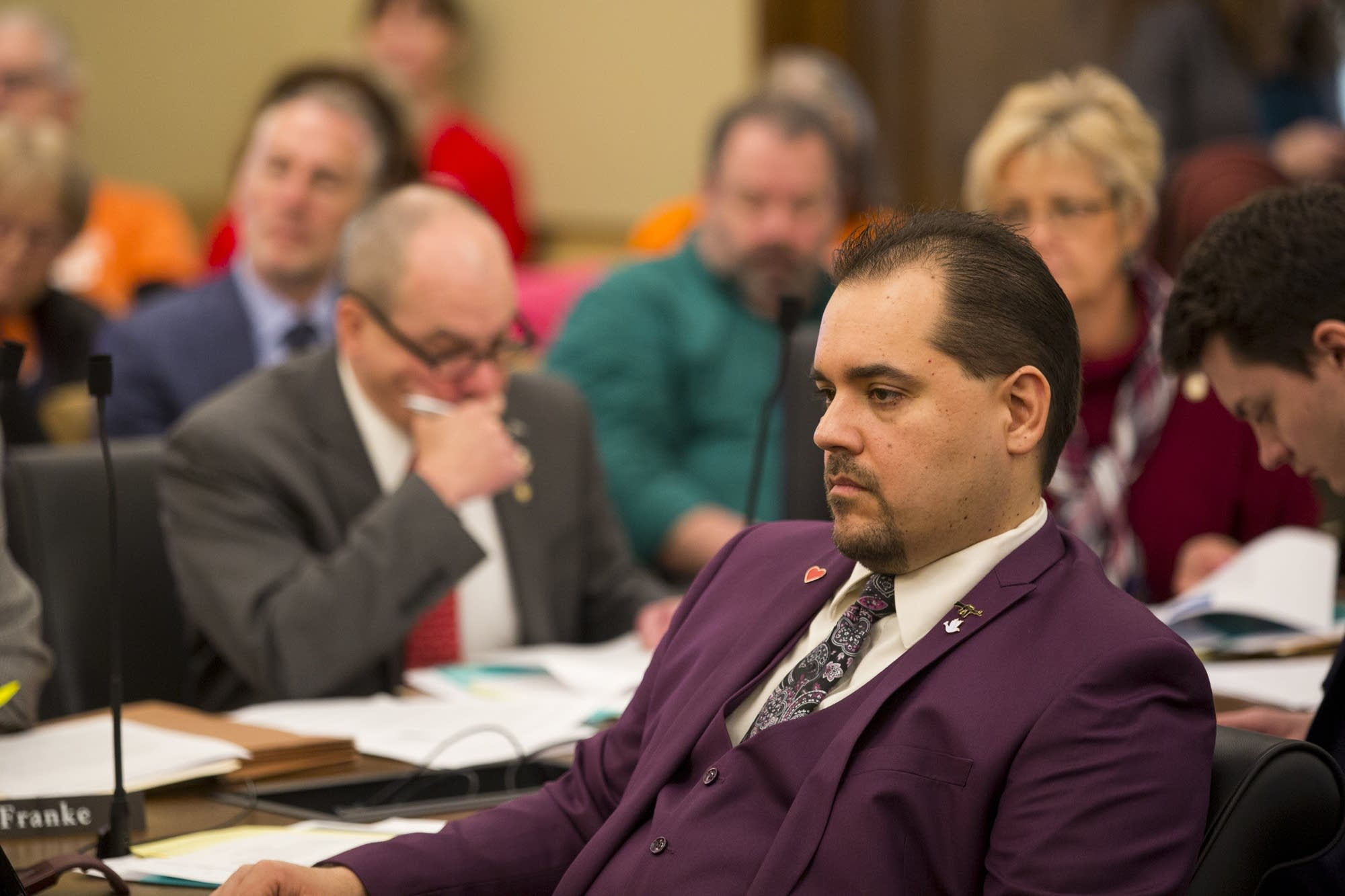 GOP Rep. Eric Lucero listens to testimony