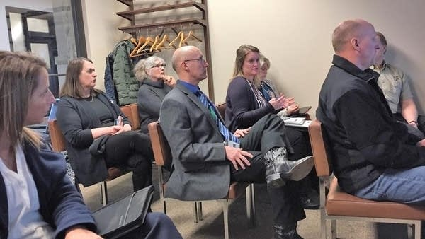 Community Services Director Kara Terry talks to Crow Wing County board