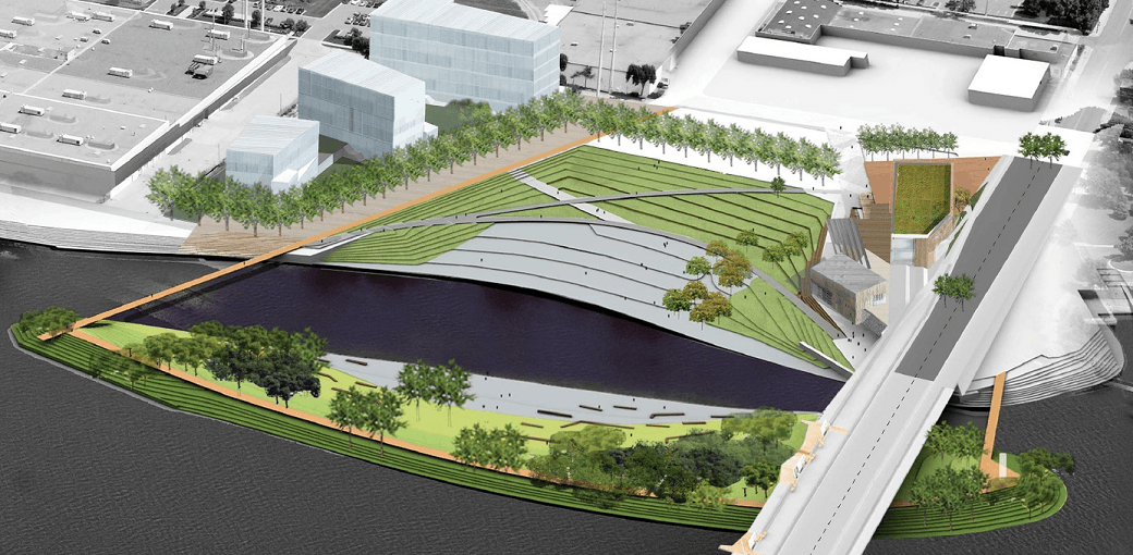 This rendering shows renovation plans for Minneapolis' Hall's Island.