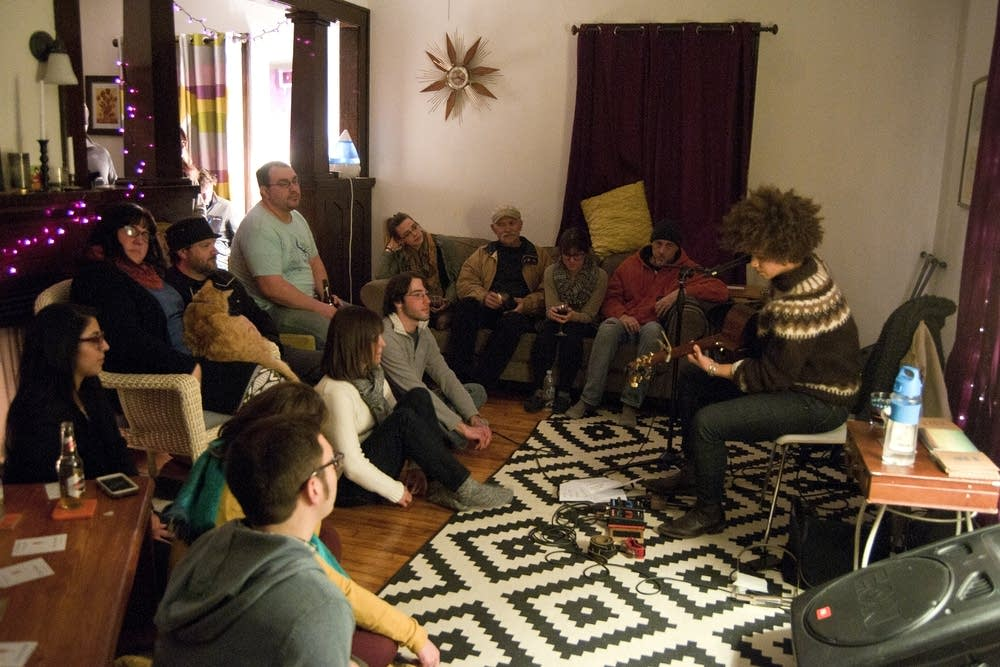 Chastity Brown at a home concert in Mankato.