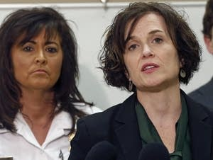 Betsy Hodges, right, and Janee Harteau