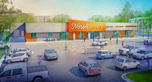 Rendering of the North Market, a new full-service grocery store.